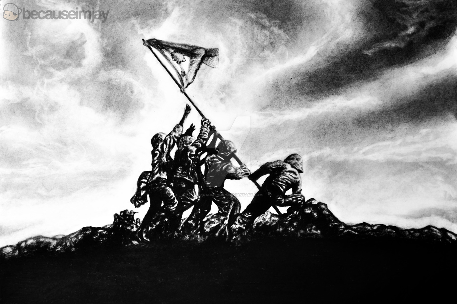 Wallpapers Iwo Jima Flag Rasing How To Draw Troops Raising The On 1600x1063