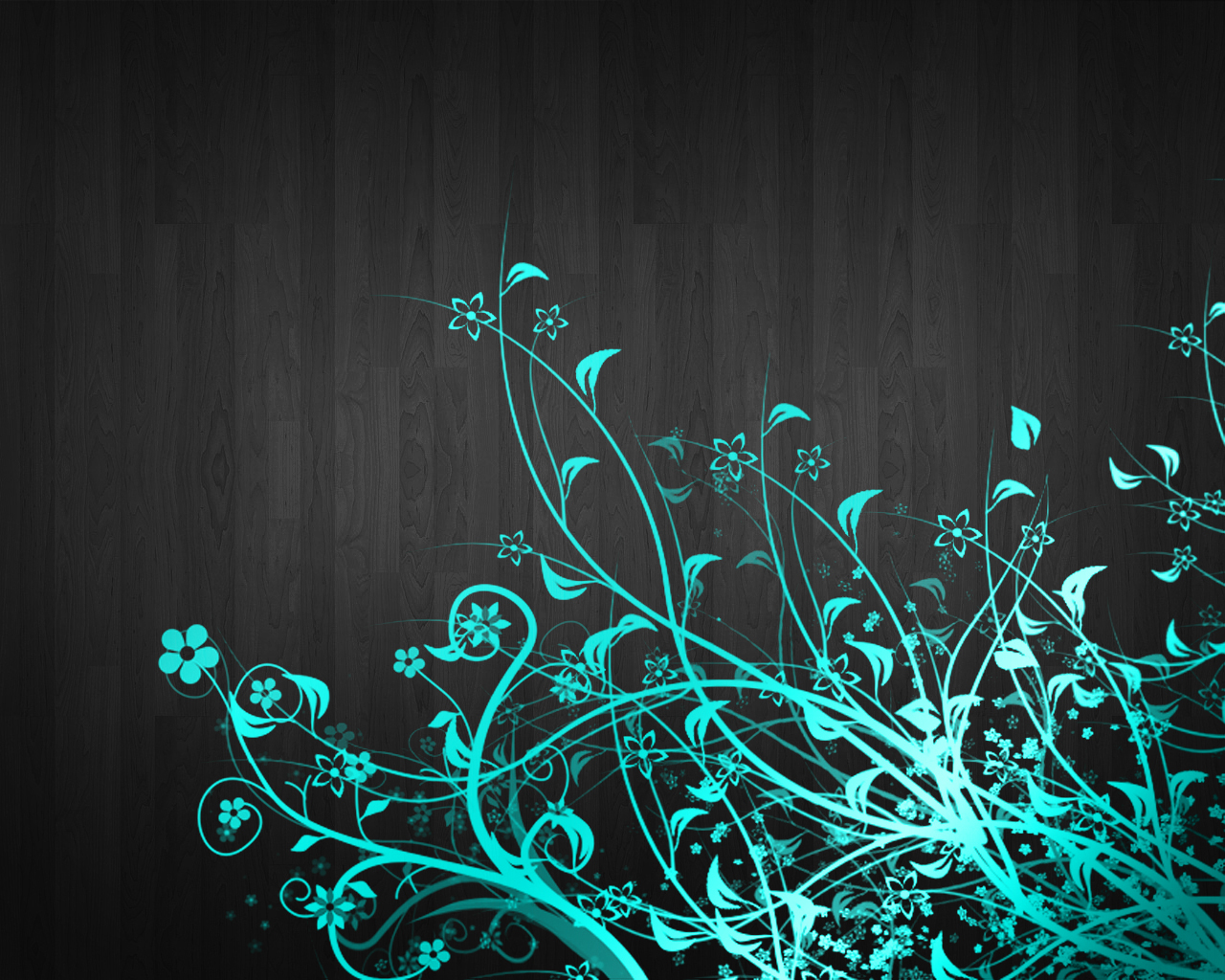 Turquoise Floral Vinyl Wallpaper 1280x1024