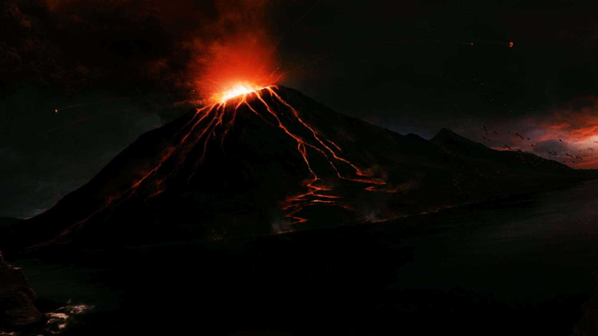 Volcano Lightning Wallpapers Group 1920x1080