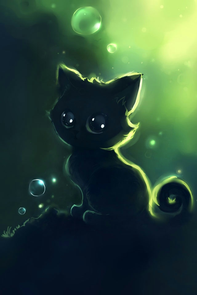 Cute Cartoon Cat Wallpaper 640x960