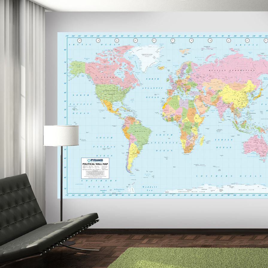 World Map, blue R Wall murals Wallpaper Rebel Walls 895x895