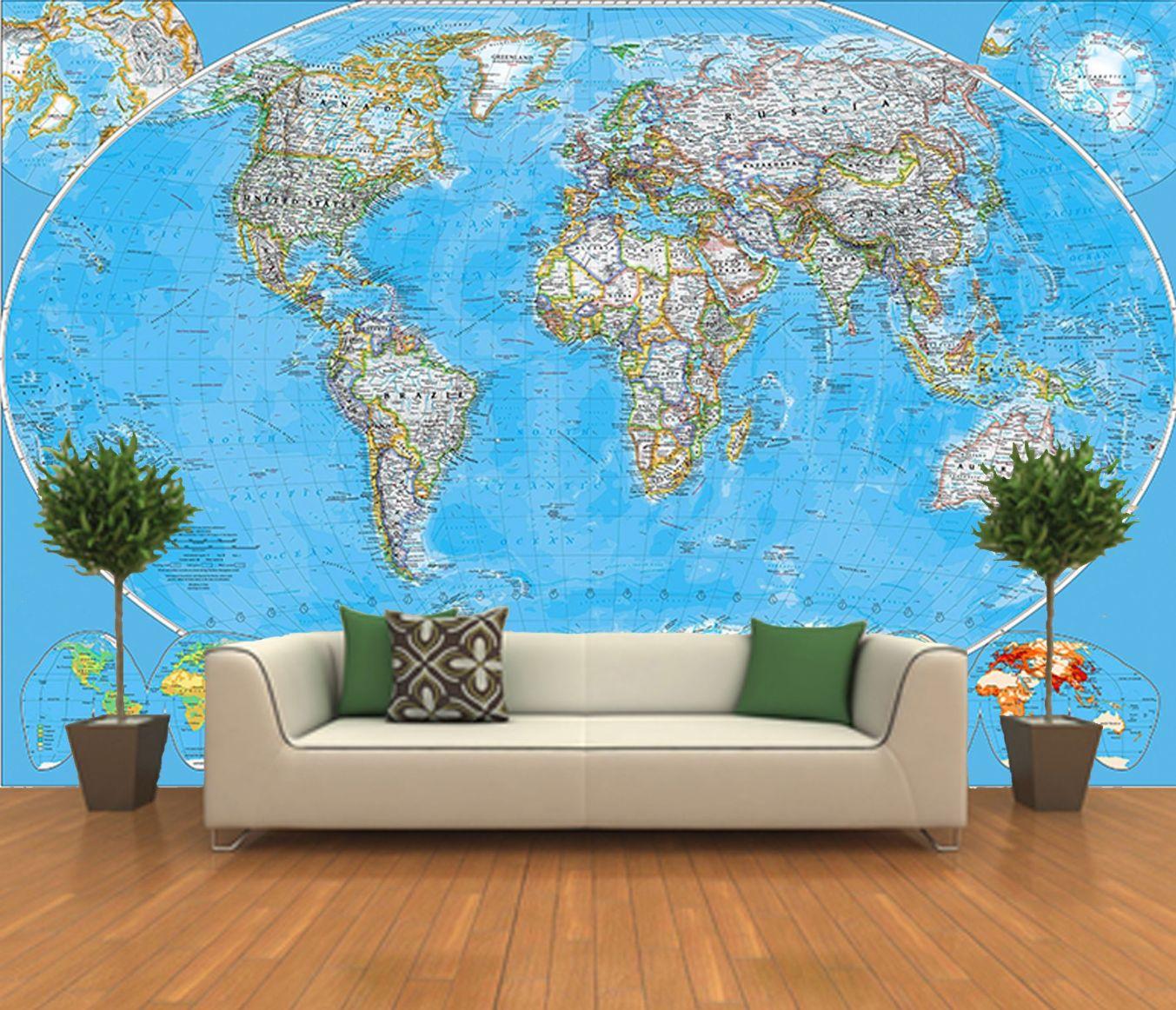 World map wallpaper mural 22 wallpapers adorable for Mural wallpaper