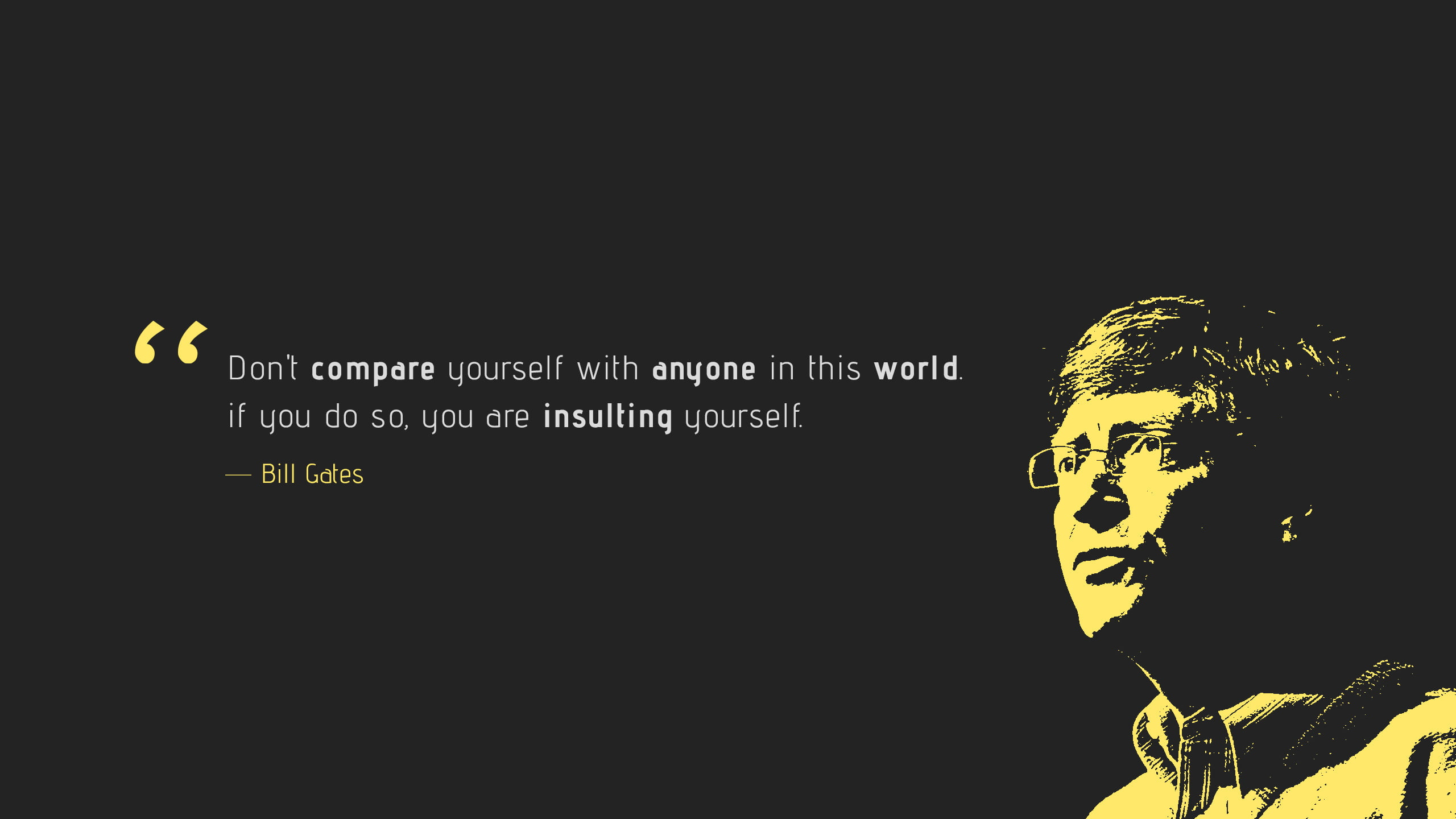 Bill Gates quote with black background
